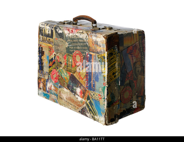 Vintage suitcase old travel stickers retro - Stock-Bilder