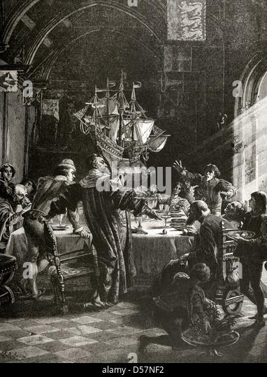 Christopher Columbus (1451-1506). Explorer and navigator genoese. Egg of Columbus. Engraving. - Stock-Bilder