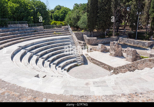 Ancient Odeon, Kos Town, Kos (Cos), The Dodecanese, South Aegean Region, Greece - Stock Image