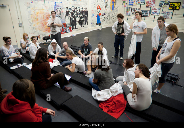 Drama and Theatre studies students Aberystwyth University after a workshop practical class. - Stock Image