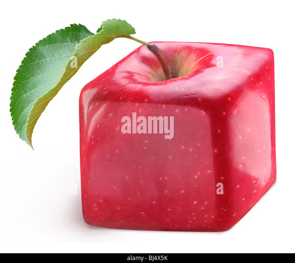 Cube apple on a white background - Stock Image