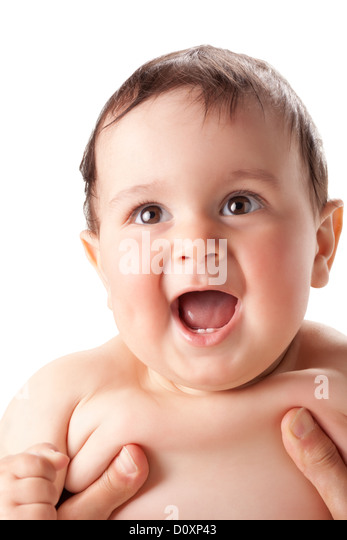 bright portrait of adorable baby - Stock Image