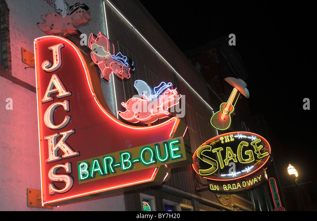 Nashville Tennessee Music City USA downtown Lower Broadway business strip neon light sign honky-tonk restaurant - Stock Image