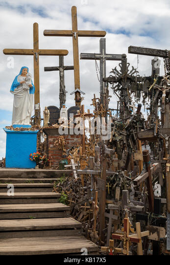 Hill of Crosses; Siauliai; Lithuania; religion; cross; crucifix; virgin mary; effigies; rosaries; many; pilgrimage; - Stock Image
