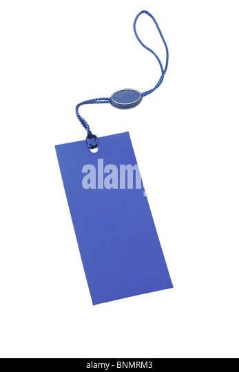 Blue blank price tag on white background - Stock Image