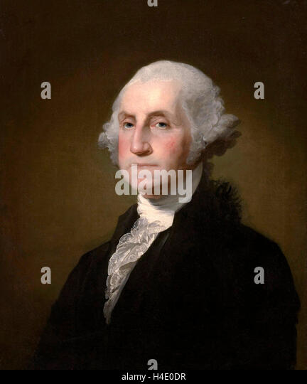 George Washington. Portrait of US President George Washington by Gilbert Stuart, 1797 - Stock Image