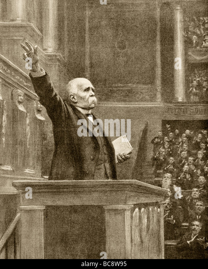 French Prime Minister Georges Clemenceau addresses French Parliament November 11 1918 after signing of armistice. - Stock Image