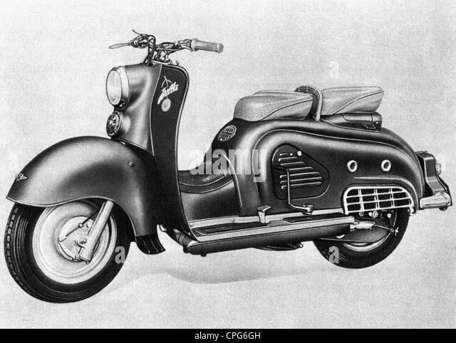 transport / transportation, motorcycle, Zuendapp Bella motor scooter, 1954, drawing, West Germany, 1950s, 20th century, - Stock Image