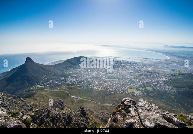 View over Cape Town from Table Mountain, South Africa, Africa - Stock Image