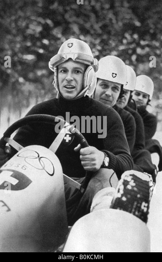 Swiss four man bobsleigh team, Winter Olympic Games, Garmisch-Partenkirchen, Germany, 1936.  Artist: Unknown - Stock Image