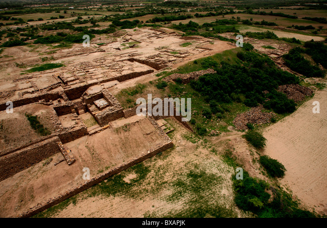 An aerial picture of ruins of Harappan civilization in Dholavira , Gujarat, India - Stock Image
