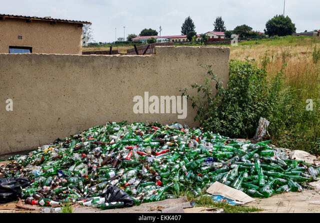 South Africa African Johannesburg Soweto pile collection bottles recycling - Stock Image