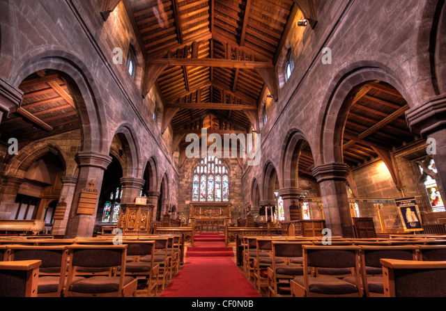 St Wilfrids Church Interior Grappenhall Village, South Warrington, Cheshire, WA4, England, United Kingdom - Stock Image