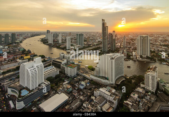 Bangkok cityscape from top view with river - Stock Image