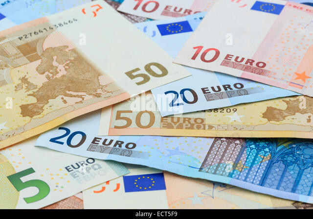 Euros in different denominations of Euro notes from the European Union Eurozone in close-up. Europe EU - Stock Image