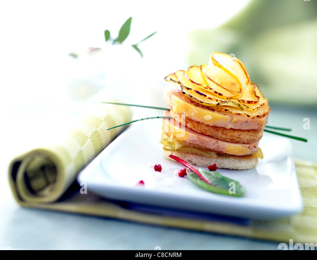 apple and foie gras layer - Stock Image