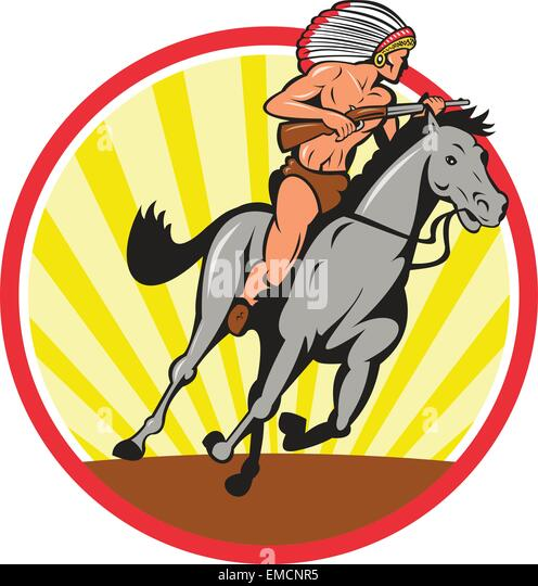 Native american indian chief riding horse stock vector