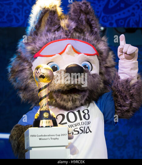 Kazan, Russia. 25th Nov, 2016. Wolf 'Sabiwaka', the mascot of the FIFA Soccer World Cup 2018 in Russia, - Stock Image