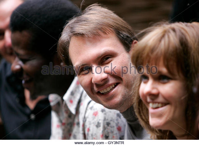 Actor Christian Slater (R) of the U.S. laughs during a photocall with actors from the stage play 'One Flew Over - Stock Image
