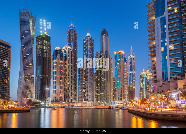 Dubai Marina Skyline at night,  Dubai City, United Arab Emirates, UAE, Middle East - Stock Image
