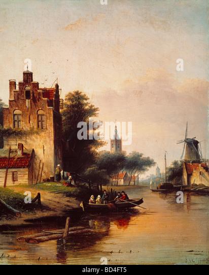 fine arts, Spohler, Jan Jacob (1811 - 1879), painting, boat trip, Dutch, barge, leisure, romantic, Romanticism, - Stock Image