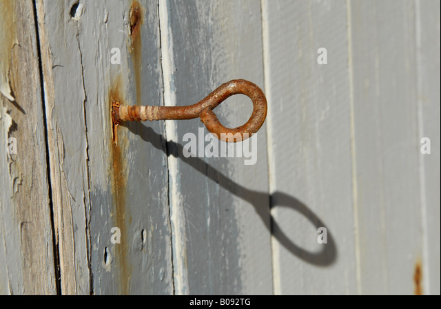 door and corroded hook, Spain, Majorca, Serra de Tramuntana, Tramuntangebirge - Stock Image