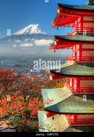 Pagoda and Mt. Fuji - Stock Image