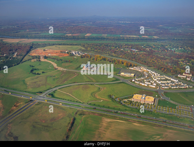 LOUDOUN COUNTY, VIRGINIA, USA - Aerial of George Washington University, GWU, Virginia Science and Technology campus - Stock Image