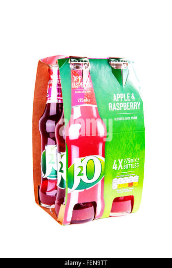 J2O bottles drink 4 pack soft drinks squash fruit flavour flavor cutout cut out white background isolated - Stock Image