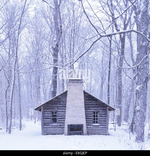 Cabin in the woods in the snow - Stock Image