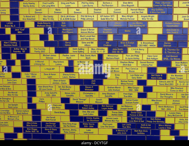 Brian Bevan face detail of bricks at Warrington Wolves Rugby Stadium, Cheshire England UK - Stock Image