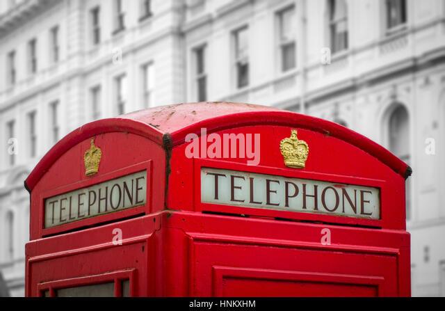 British red telephone box, London, UK - Stock Image