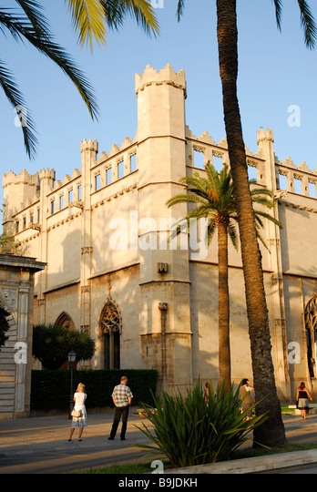 Promenade in front of the former maritime trade stock exchange, Sa Llotja, facade in the Catalonian Gothic style, - Stock Image