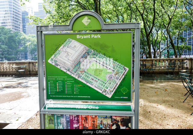 New York New York City NYC Manhattan Midtown Bryant Park public park map information sign - Stock Image