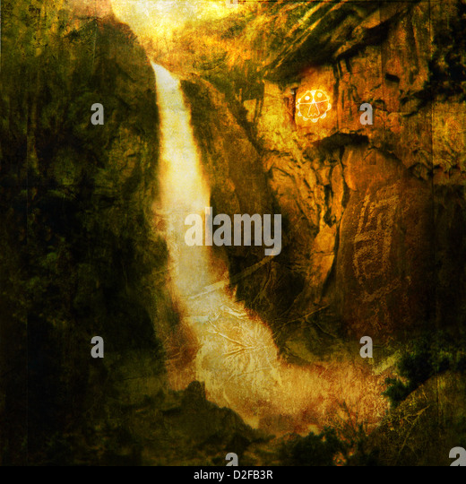 Photo based illustration of a large waterfall near a native american petroglyph. - Stock Image
