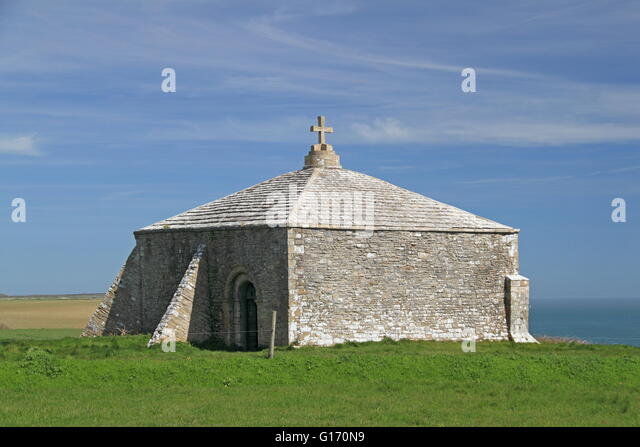 St Aldhelm's Chapel, Worth Matravers, Corfe, Purbeck, Jurassic Coast, Dorset, England, Great Britain, United - Stock Image