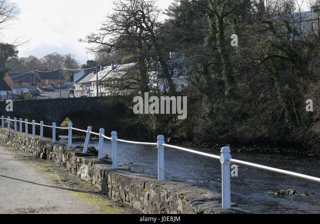 Riverside walk at the River Lennon in Ramelton, County Donegal, Ireland. - Stock Image