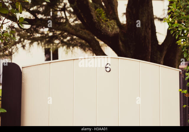 Number 6 on a gate - Stock Image