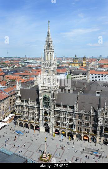 The Rathaus Marienplatz Munich Bavaria Germany Munchen Deutschland - Stock Image