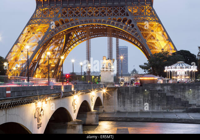 Pont d'Iena and Eiffel Tower, Paris, France, Europe, UNESCO World Heritage Sites bank of Seine between Pont de Sully - Stock Image