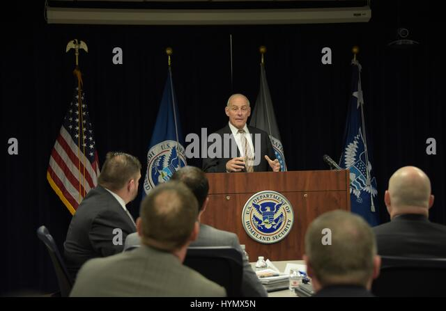 Secretary of Homeland Security John Kelly addresses an audience of US Immigration and Customs Enforcement at the - Stock Image