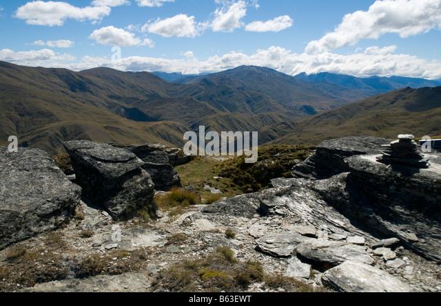 On Rock Peak, near Queenstown, South Island, New Zealand - Stock Image