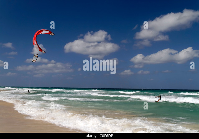 Kite surfer at Playa del Este near Havanna Cuba - Stock Image