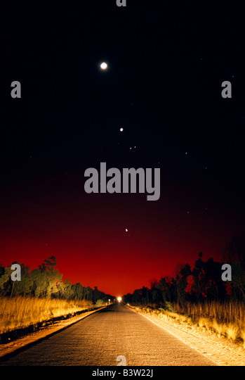 Night sky and road, outback Australia - Stock Image