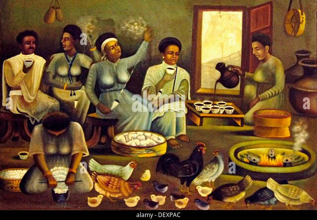 ´Ethno Museum´ at Addis Ababa: artist impression of a coffee ceremony in a village, Ethiopia - Stock Image