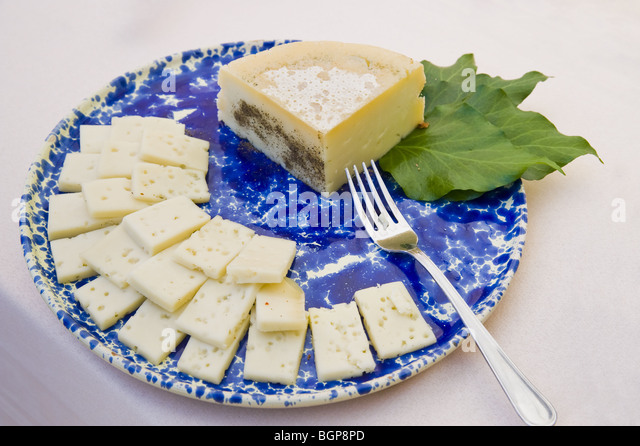Plate of cheese - Stock Image