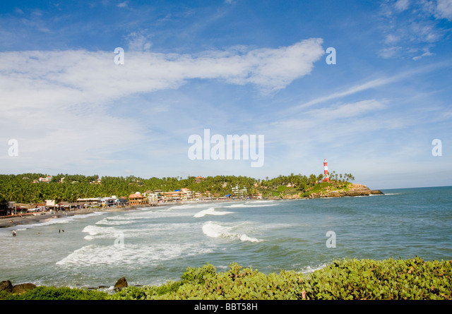 Kovalam beach view with light house as background, India - Stock-Bilder