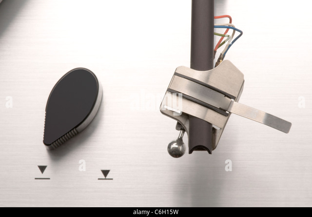 turntable and tone arm - Stock Image