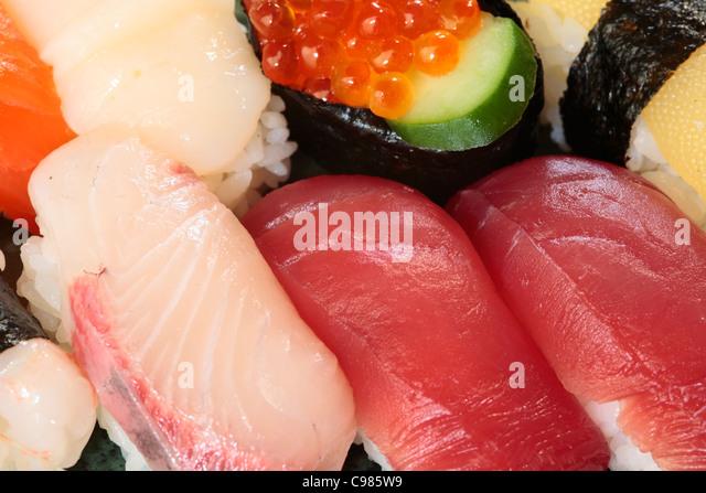 Close-up of assorted Japanese nigiri zushi. - Stock Image