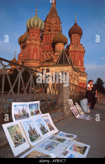 Russia former Soviet Union Moscow Red Square St. Basil's Cathedral by Ivan the Terrible watercolor paintings - Stock Image